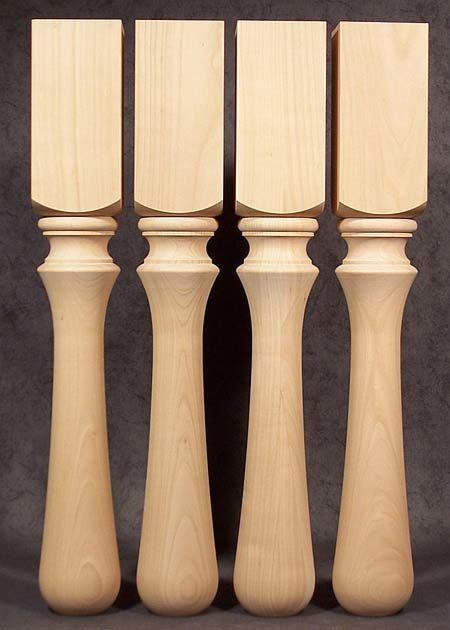 Tischbeine Holz gedrechselt, 9x9cm, charackteristisch, Kirsche, TB57
