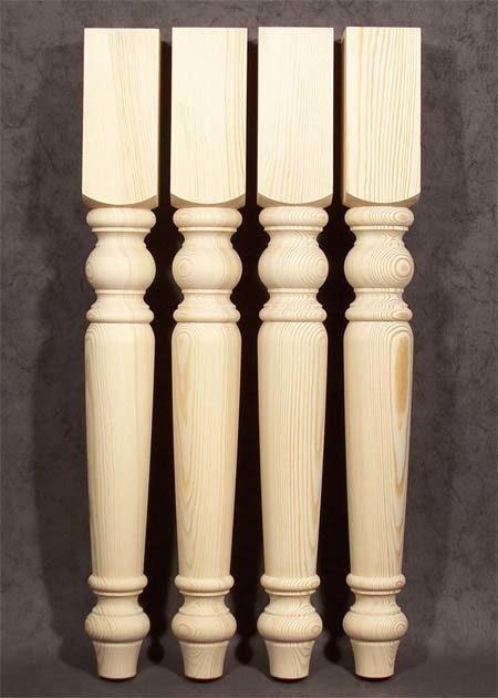 Tischbeine Holz mit klassischer, gedrechselter Form, Kiefer, TB81