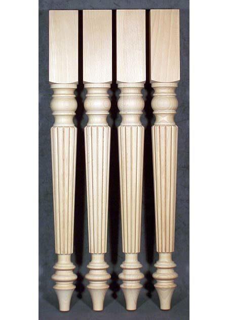 Tischbeine Holz, romantisch, 7x7cm, gedaempfte Buche, TB49